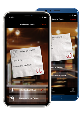 Drink's on me app on iPhone and Android
